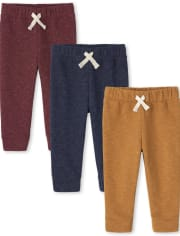 Baby And Toddler Boys Fleece Jogger Pants 3-Pack
