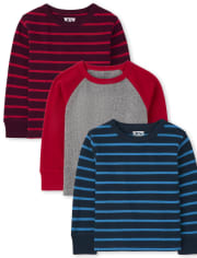 Toddler Boys Striped Thermal Top 3-Pack