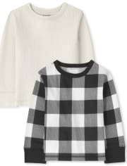 Toddler Boys Buffalo Plaid Thermal Top 2-Pack