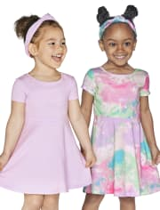 Baby And Toddler Girls Tie Dye Cut Out Skater Dress 2-Pack