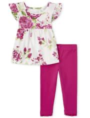 Conjunto de 2 piezas con volantes florales para niñas pequeñas