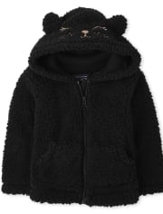 Toddler Girls Mommy And Me Halloween Cat Sherpa Zip Up Hoodie