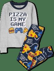 Boys Pizza Gamer Snug Fit Cotton Pajamas
