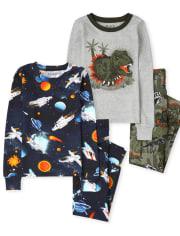 Boys Space Dino Snug Fit Cotton Pajamas 2-Pack