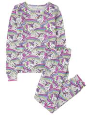 Girls Unicorn Rainbow Snug Fit Cotton Pajamas
