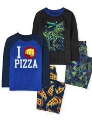 Boys Dino Pizza Pajamas 2-Pack