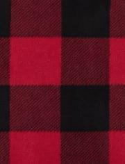 Womens Matching Family Bear Buffalo Plaid Cotton And Fleece Pajamas