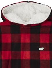 Unisex Adult Matching Family Bear Buffalo Plaid Fleece Pajamas