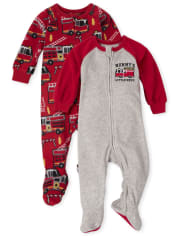 Baby And Toddler Boys Fire Truck Fleece One Piece Pajamas 2-Pack