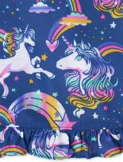 Girls Rainbow Unicorn Ruffle Nightgown