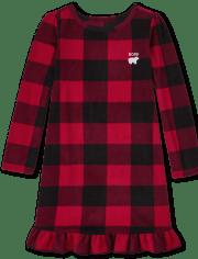 Girls Matching Family Bear Buffalo Plaid Fleece Nightgown