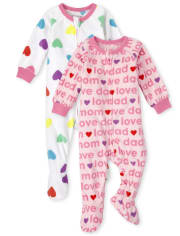Baby And Toddler Girls Love Fleece One Piece Pajamas 2-Pack