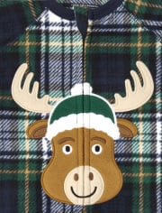 Unisex Baby And Toddler Matching Family Moose Plaid Fleece One Piece Pajamas
