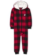 Unisex Kids Matching Family Bear Buffalo Plaid Fleece One Piece Pajamas
