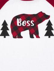 Unisex Kids Matching Family Bear Buffalo Plaid Snug Fit Cotton And Fleece Pajamas