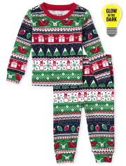 Unisex Baby And Toddler Glow Christmas Fairisle Snug Fit Cotton Pajamas