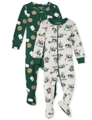 Baby And Toddler Boys Milk And Cookies Snug Fit Cotton One Piece Pajamas 2-Pack