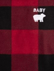 Baby And Toddler Girls Matching Family Bear Buffalo Plaid Fleece Nightgown