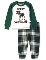 Unisex Baby And Toddler Matching Family Christmoose Snug Fit Cotton Pajamas