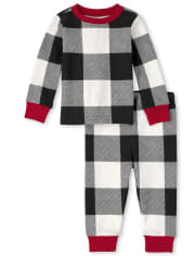 Unisex Baby And Toddler Matching Family Thermal Buffalo Plaid Snug Fit Cotton Pajamas