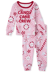 Baby And Toddler Girls Christmas Candy Cane Snug Fit Cotton Pajamas