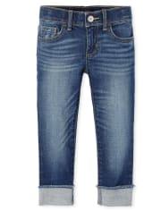Girls Roll Cuff Super Skinny Jeans