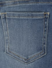 Girls Button Front Straight Jeans