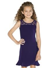 Girls Lace Ruffle Stretch Jacquard Dress