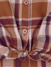 Camisa de niñas de sarga a cuadros con botones en la parte delantera