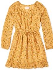 Girls Floral Peasant Dress