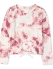 Girls Tie Dye Tie Front Thermal Sweatshirt