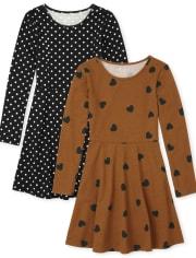Girls Heart Dot Skater Dress 2-Pack