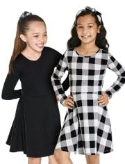 Girls Buffalo Plaid Skater Dress 2-Pack
