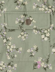Girls Floral Parka Jacket
