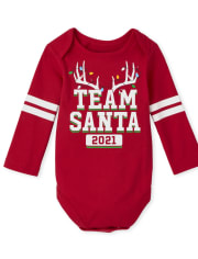 Unisex Baby Matching Family Team Santa Graphic Bodysuit