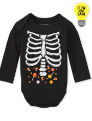 Unisex Baby Matching Family Glow Skeleton Graphic Bodysuit