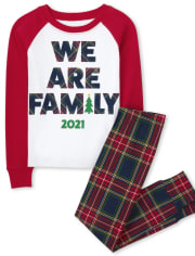 Unisex Kids Matching Family We Are Family Snug Fit Cotton Pajamas