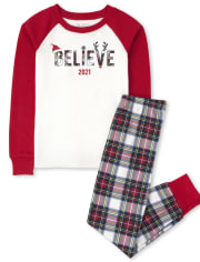 Unisex Kids Matching Family Believe Snug Fit Cotton Pajamas