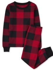 Unisex Kids Matching Family Thermal Buffalo Plaid Snug Fit Cotton Pajamas