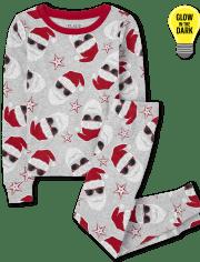 Unisex Kids Matching Family Glow Santa Snug Fit Cotton Pajamas