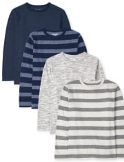 Boys Striped Marled Top 4-Pack