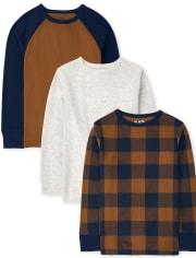 Pack de 3 camisetas térmicas raglán a cuadros para niños