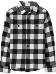 Boys Matching Family Buffalo Plaid Flannel Button Down Shirt