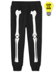 Unisex Kids Glow Skeleton Jogger Pants
