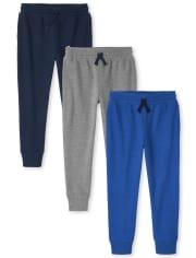 Boys Fleece Jogger Pants 3-Pack