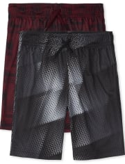 Boys Print Mesh Performance Basketball Shorts 2-Pack