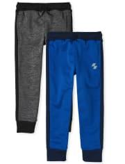 Boys Side Stripe Performance Jogger Pants 2-Pack