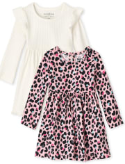 Baby Girls Leopard Bodysuit Dress 2-Pack