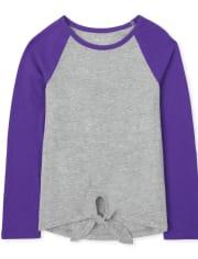 Camiseta básica de capas con lazo en la parte delantera para niñas