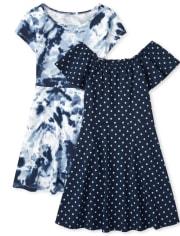 Girls Print Skater Dress 2 Pack